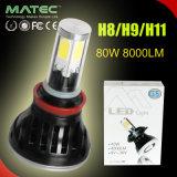 bianco capo dell'indicatore luminoso 6000k della lampada dell'automobile LED di 12V/24V 80With8000lm H11 con Canbus interno