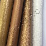 Couro do PVC do teste padrão do Litchi para o saco cosmético com bom dobrando a resistência