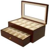 Caja de presentación de cuero de madera de lujo del embalaje del reloj (Lrw022)