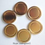 Шестиугольник 1.5 Oz ясный стеклянный Jars (крышка волочения металла золота)