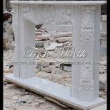 Cheminée blanche classique de Carrare pour les meubles à la maison Mfp-114