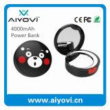 Diseño Power Bank 4000mAh Espejo Ronda de dibujos animados con el espejo de iluminación LED