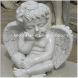Hand bianco Carved Angel Sculpture, Marble Child Statue per il giardino