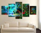 يطبع نوع خيش يدهن 5 قطعة فنّ صورة زيتيّة الطاووس لأنّ يعيش غرفة نوع خيش عمل فنّيّ جدار زخرفة