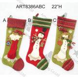 Calza del pupazzo di neve della Santa della decorazione di natale con i polsini lavorati a maglia, 3asst
