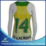 Lacrosse de las mujeres de encargo de la sublimación Pinny del reversible de la parte posterior de la raza de 2 capas