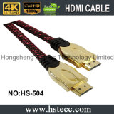 cable plateado oro de 24k HDMI con la red de nylon