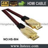 cabo chapeado ouro de 24k HDMI com rede de nylon