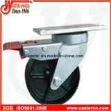 Roulette malléable résistante de casier de rebut de fer de 6 pouces