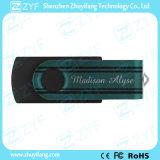 2016 Nuevo diseño giratorio Negro Drive USB con personalizada a todo color de impresión (ZYF1813)