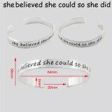 De Gepersonaliseerde Armband van de Juwelen van de Manier van het Manchet van het roestvrij staal Engeaved voor Vrouwen