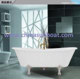 Da banheira independente do esmalte da banheira do ferro de molde banheira de aprofundamento dobro clássica européia do esmalte