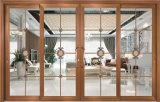 Portello scorrevole di alluminio di colore della ciliegia del balcone di legno di alta qualità