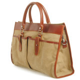 Echt leer Stikken Gewassen Canvas Fashion Handbag (RS-881A)