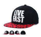 Черные шлемы Snapback хлопка с сплетенным вышивкой логосом заплаты ярлыка