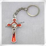 OEM/ODMのカトリック教の十字架像(IO-CK064)が付いている十字のキーホルダーのキーホルダー