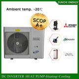 一体鋳造冬の床またはラジエーターの暖房部屋+Dhw 55c 19kw/35kw/70kw R407cの空気ソース最もよいEviのヒートポンプの給湯装置の自動霜を取り除きなさい