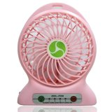 Mini ventilateur portable portable [avec lampe LED] Alimenté par batterie au lithium rechargeable [Fonction additionnelle en tant que Power Bank] ou câble USB fourni Idéal