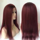 """24 """" волос девственницы Рук-Прилива 7A парика #99j шнурка Unprocessed полных"""