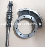 Eje del gusano con el engranaje con proceso que trabaja a máquina del CNC