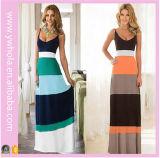 Großverkauf kundenspezifisches Frauen-Baumwollmulti Farben-gestreiftes langes Maxi Kleid 100%