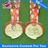 Металл медали футбола резвится медали с логосом тесемки и клиента
