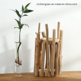 나무로 되는 Barrel 및 Glass Tube Folwer Arrangement Potted Vase
