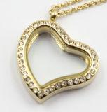 Silver / Gold / Rose Gold Heart Style pingente de locket flutuante com cristal