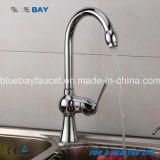 Trou simple de traitement de cuisine de robinet de Hot&Cold de mélangeur de taraud de chrome en laiton moderne neuf de bassin