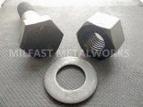 Boulons Hex structuraux lourds d'acier du carbone d'ASTM A490 avec le fini de noir de noix Hex d'A194 gr. 2h