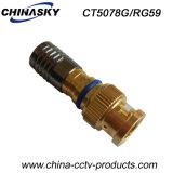 Adaptador impermeable masculino de la compresión BNC del CCTV con el oro plateado (CT5078G/RG59)
