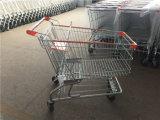 黒い上塗を施してあるアメリカのスーパーマーケットのショッピングトロリー