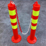 Muestra roja fluorescente del resorte de la seguridad de tráfico de camino con la cinta reflexiva