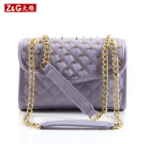 Fábrica Cheap Pricediamond Quilt e Rivet Lady Designer Leather Handbags (LD-1512)