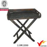 Única bandeja de madera de mesa de café verde de la vendimia