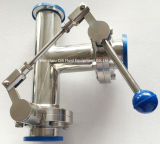 1つの引きのハンドルが付いているステンレス鋼のティー様式の糸かクランプまたは溶接蝶弁