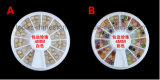 진주 금 변죽을%s 가진 바퀴 상자는 못 예술 (백색 혼합 FB 4mm)를 위해 Cabochon 진주 모양이 되게 한다