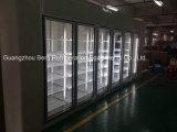Caminhada do supermercado no refrigerador do armazenamento frio com vidro