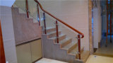 Balustrade en bois en acier en verre moderne d'escalier d'acier inoxydable