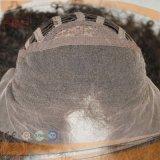 Parrucca naturale di colore del merletto anteriore legata mano francese riccia umana di Afro