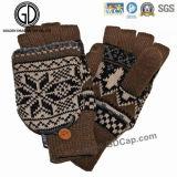Gant Fingerless chaud de Camo/gant tricoté acrylique de l'hiver de jacquard