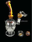 Blumen-Farben-Stutzen-Schädel-Form-Borosilicat-Glas-Pfeife-Glas-Rohr