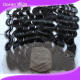 Bandeau 100% supérieur en soie adapté aux besoins du client de lacet de fermeture de cheveux de Vierge de cheveux humains de Remy d'embrouillement de la couleur 100% librement (F-005)