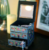 Handarbeit Painted Wood Jewelry Box mit Mirror