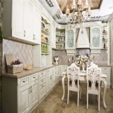 Gabinete de cozinha modular pintado branco luxuoso