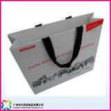 Sacchetto impaccante riciclato dell'abito di acquisto dell'elemento portante di carta con le maniglie del nastro