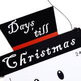 Calendario de madera del advenimiento de la Navidad con diseño del muñeco de nieve en existencias
