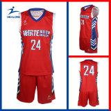 赤いカラーカスタマイズされたデザイン完全な昇華バスケットボールセット