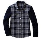 Chemise moyenne de réseau de plaid d'uniforme scolaire de qualité d'usine de long automne bon marché de chemises