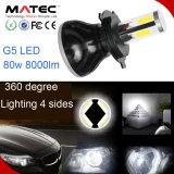 Il faro impermeabile impermeabile dell'automobile H4 il LED LED con il driver smazza 8000lm 6000k 80W bianco 1 accoppiamento